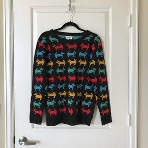 Modcloth black dog print sweater, size M